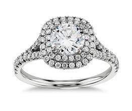 Round Diamond Duet Halo Engagement Ring