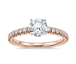 Round Diamond French Pavé Engagement Ring