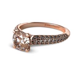 Round Graduated Triple Row Pavé Engagement Ring