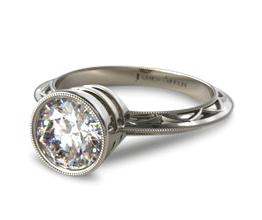 Round Milgrain Bezel Diamond Engagement Ring