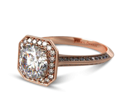 Octagon Halo Diamond Engagement Ring