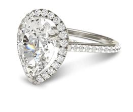 Pear Halo Diamond Engagement Ring (Platinum)