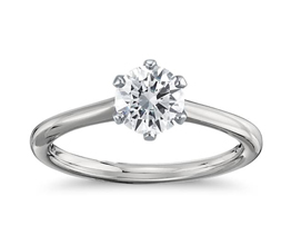 Round Diamond Petite Nouveau Six Prong Solitaire Engagement Ring