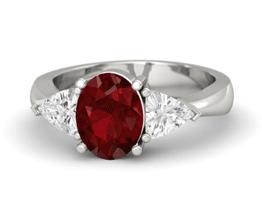 Sophia Ring Three Stone Ruby Engagement Ring (14K White Gold)