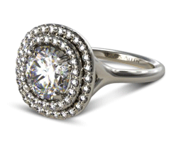 Round Split Shank Double Halo Pavé Engagement Ring