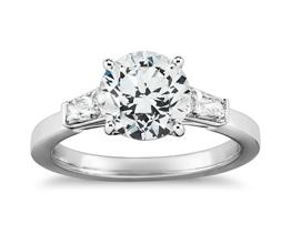 Round Diamond Tapered Brilliant Baguette Engagement Ring (Platinum)