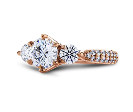 'Aphrodite' Three Stone Diamond Engagement Ring