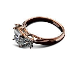 Princess Trellis II Three Stone Diamond Engagement Ring
