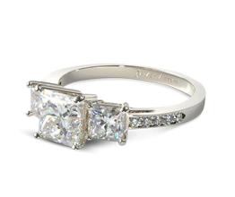 Three stone pavé princess cut engagement ring