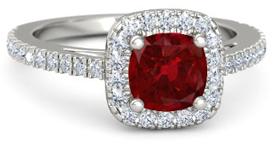 cushion cut ruby halo engagement ring