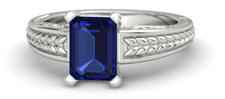 emerald cut sapphire vintage style engagement ring