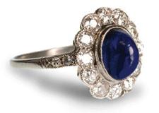 vintage cabochan sapphire engagement ring