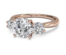 Round Three-Stone Diamond Engagement Ring