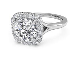 Round French-Set Halo Diamond Engagement Ring
