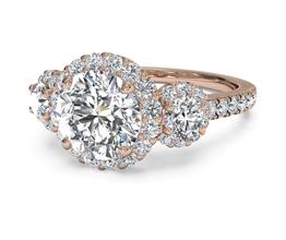 Round Three-Stone Halo Diamond Engagement Ring
