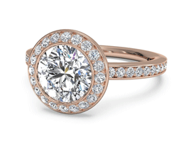 Round Halo Micropavé Diamond Band Engagement Ring