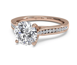Round Channel-Set Diamond Engagement Ring with Surprise Diamonds