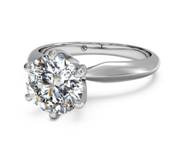 Round Solitaire Diamond Six-Prong Knife-Edge Engagement Ring