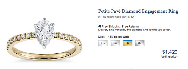 blue nile yellow gold pear engagement ring