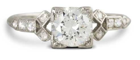european box art deco diamond ring