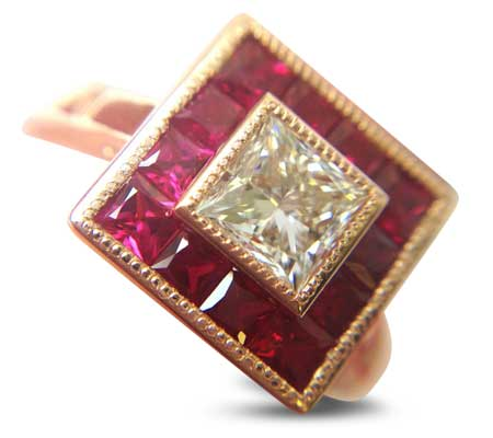 invisible setting ruby halo art deco engagement ring