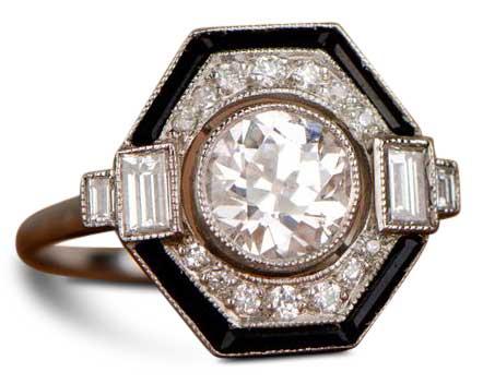 octagonal halo art deco engagement ring