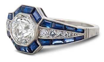 sapphire halo art deco engagement ring