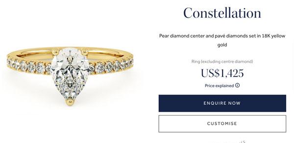 taylor hart pear engagement ring