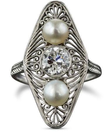 Edwardian diamond and pearl ring
