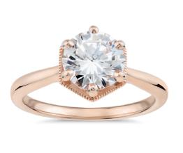 Hexagon Halo Solitaire Diamond Engagement Ring