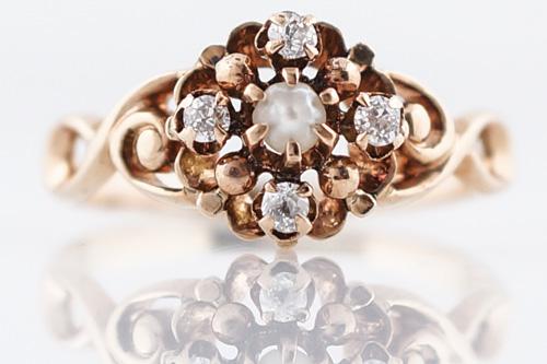 victorian rose gold diamond ring