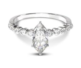 Beveled side stone marquise diamond engagement ring