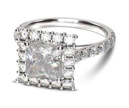 Floating Halo Princess Diamond Engagement Ring