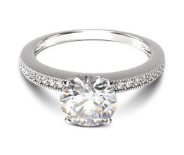 Pavé And Milgrain Diamond Engagement Ring