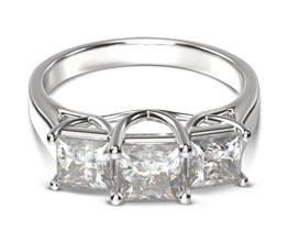 Three Stone Trellis Princess Diamond Engagement Ring