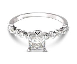 Under-bezeled Accent Princess Cut Diamond Engagement Ring