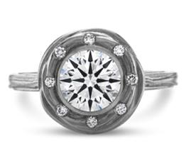 Liva halo palladium engagement ring