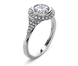 'Elle' halo palladium engagement ring