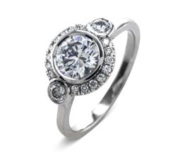 'Maja' halo palladium engagement ring