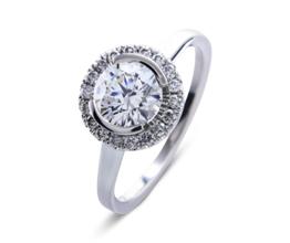 'Victoria' halo palladium engagement ring