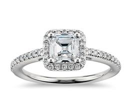 Asscher Cut Halo Diamond Engagement Ring