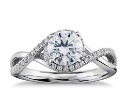 Petite Twisted Halo Diamond Engagement Ring