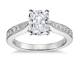 Cathedral pavé cushion cut diamond engagement ring