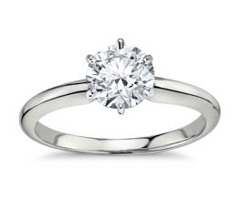 Classic six prong diamond engagement ring