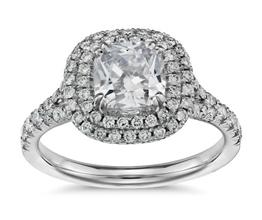 Duet halo cushion cut diamond engagement ring