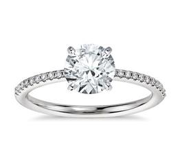 Petite Micropavé Diamond Engagement Ring