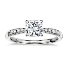 Petite Milgrain Diamond Engagement Ring