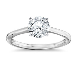 Petite Solitaire Four Prong Round Engagement Ring