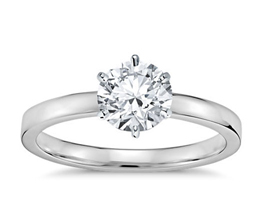 Six-Prong Low Dome Comfort Fit Solitaire Engagement Ring