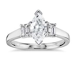 Three-Stone Emerald-Cut Diamond Engagement Ring